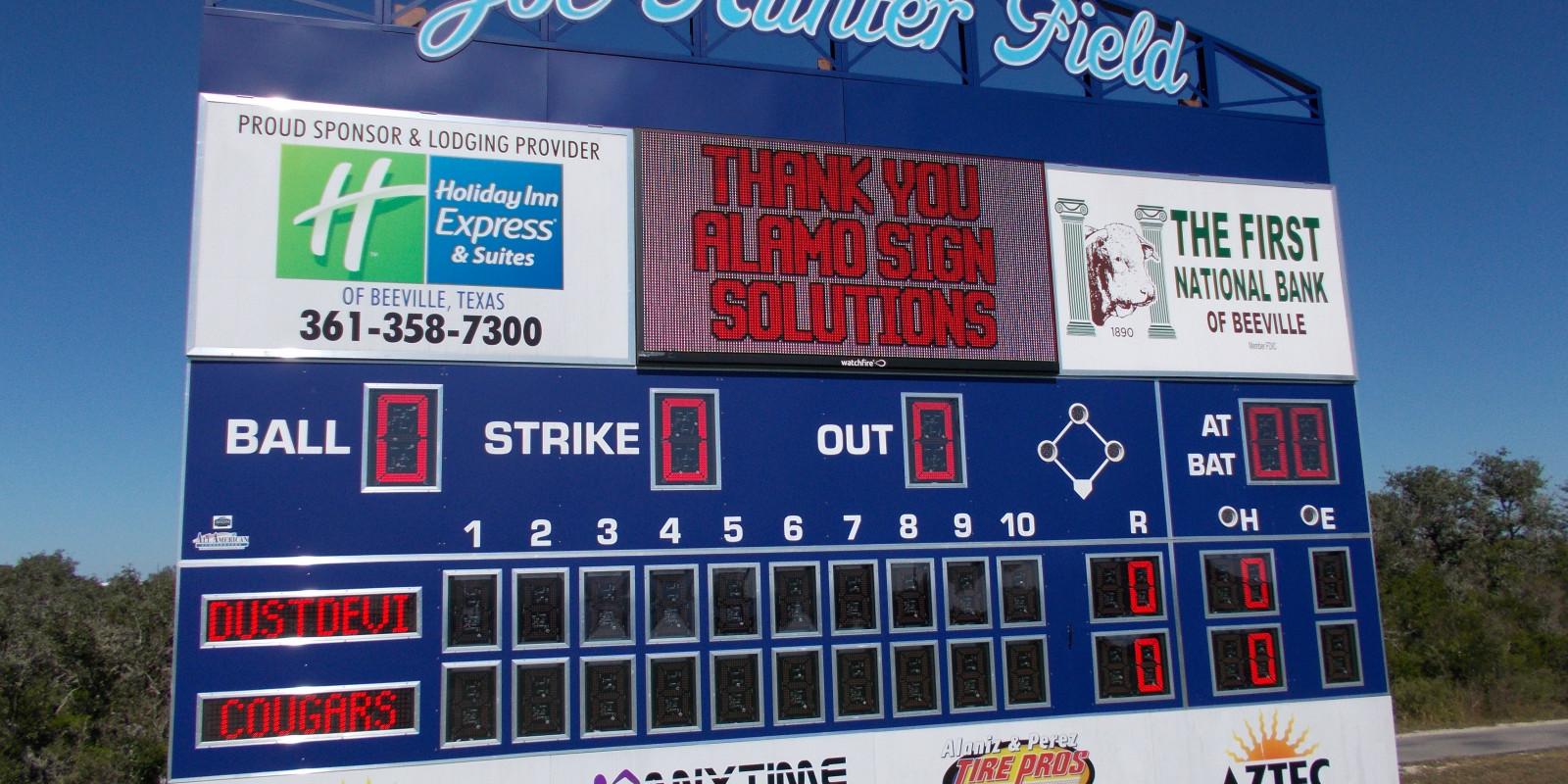Coastal Bend College Baseball Scoreboard and Watchfire Digital Sign - Live Video Playback