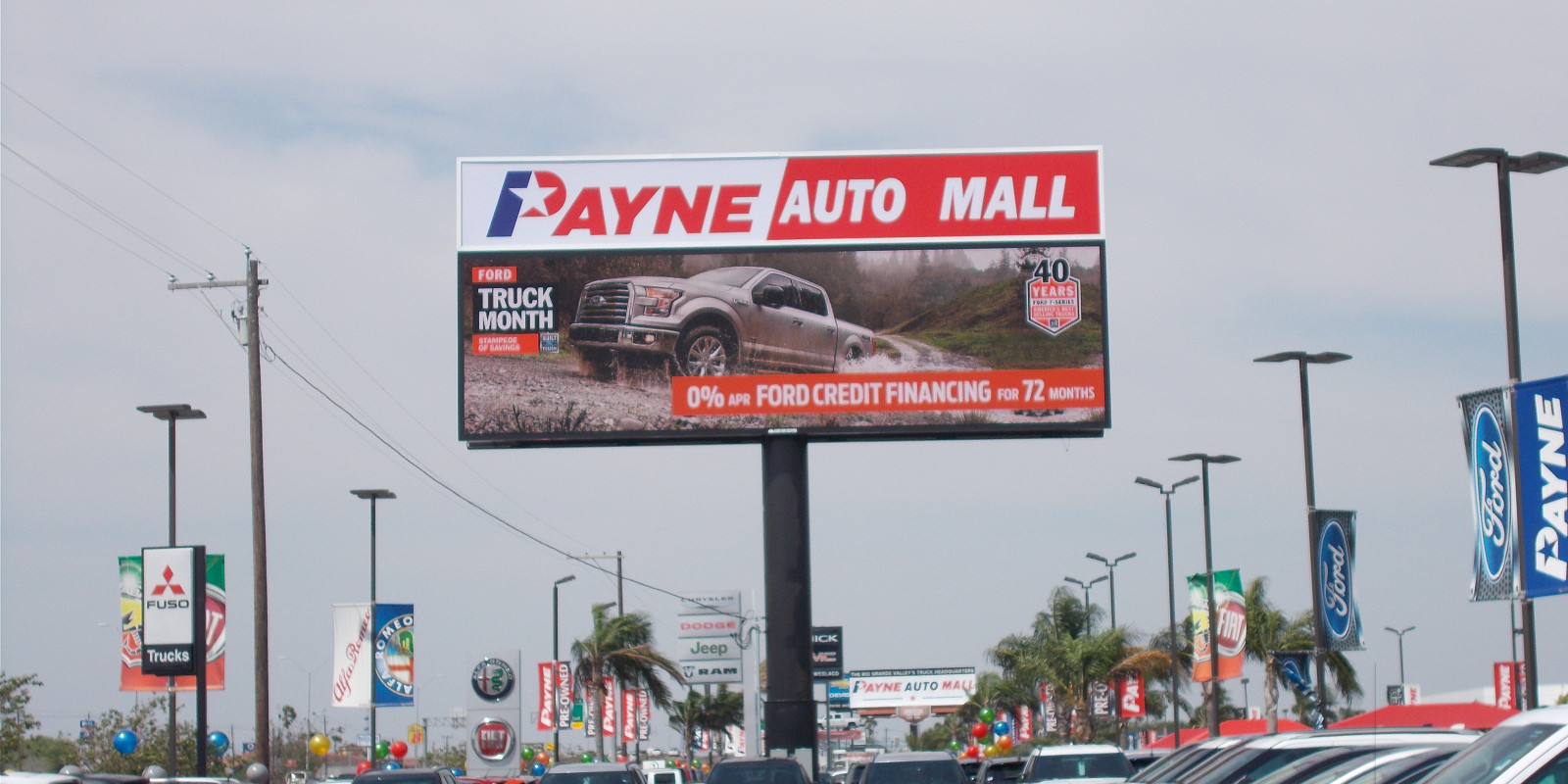 Payne Auto Mall 14' x 48 Digital Sign & 7' x 48' Double Sided illuminated ID Cabinets